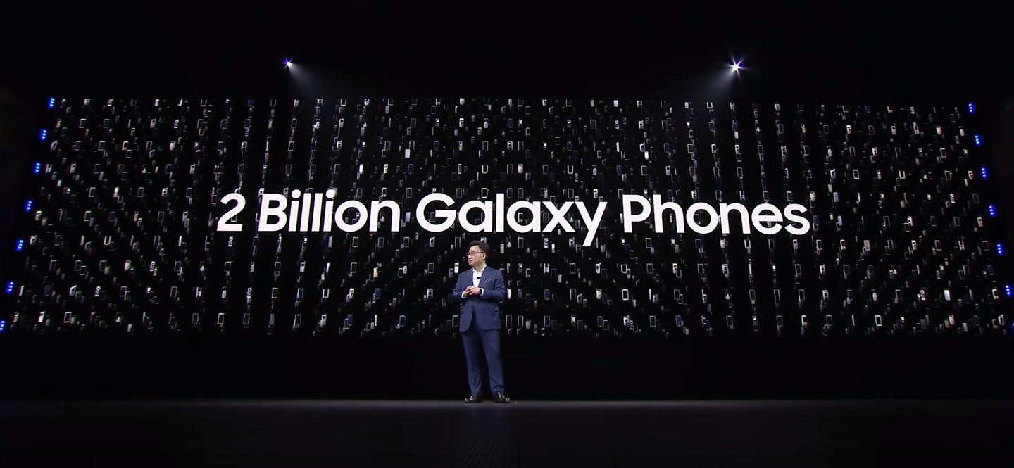 Also at the event, Samsung said more than 2 billion Galaxy handsets came to users. Photo: YouTube.